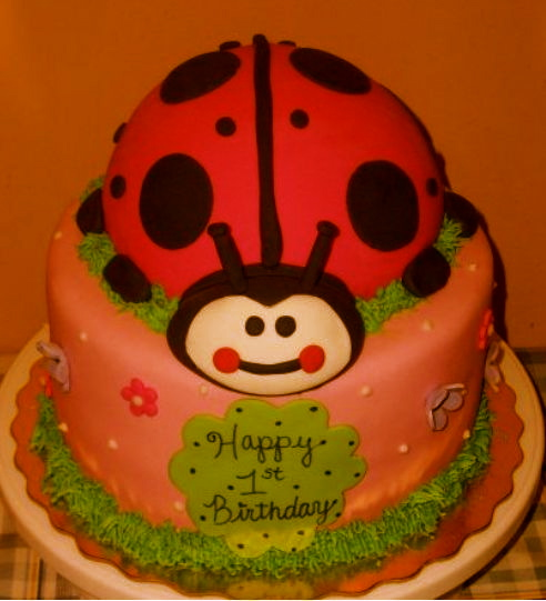 Cecilia Pink ladybug first birthday cake