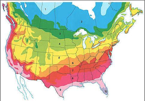 Planting zones in North America