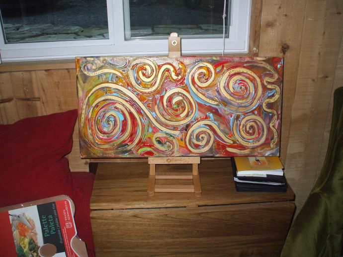 Tiny Table with painting drying