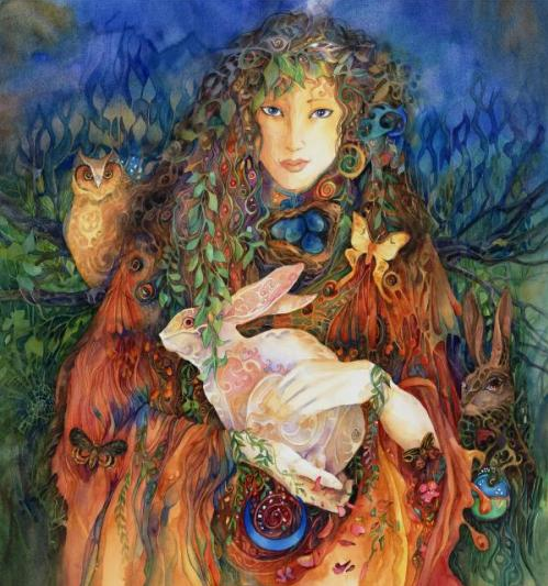 Ostara by Helena Nelson Reed http://helena-nelson-reed.smugmug.com/Paintings/Goddess-Paintings/19503163_ZFNwbN#!i=1526990829&k=ZThjSSn