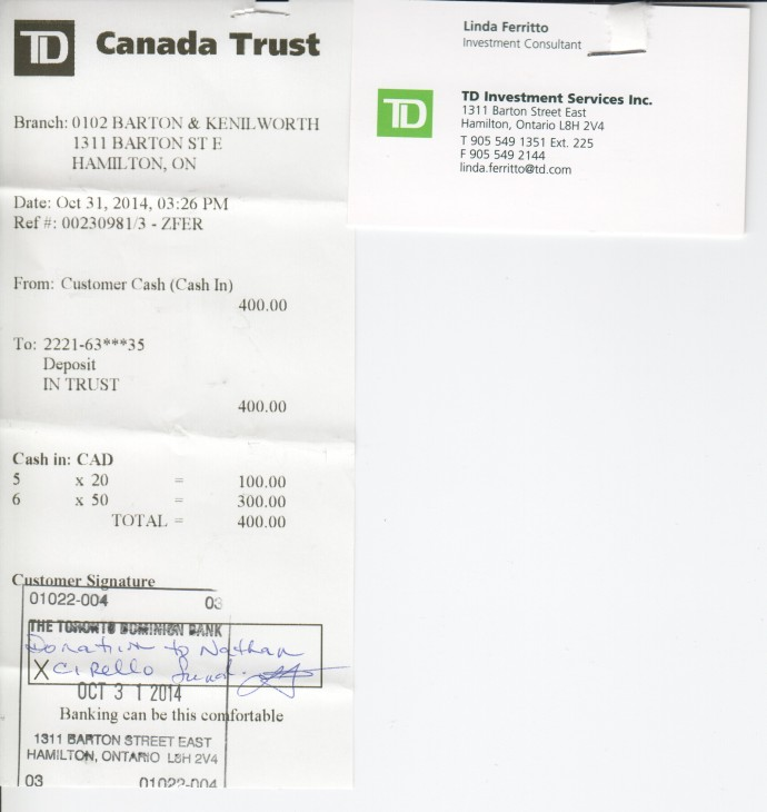 Here is the receipt to show that funds were deposited into the trust account for Marcus.
