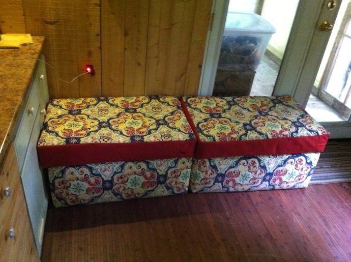 Footstools become a comfy sofa bench for three